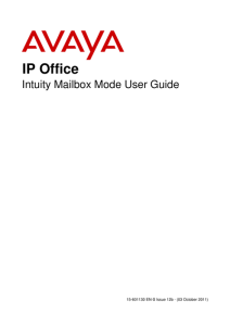 AVAYA Voicemail User Guide